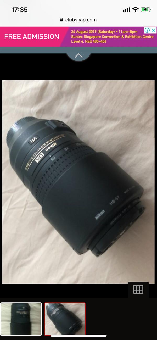 Nikon AF-S Nikkor 55-300mm f4.5-5.6G ED with lens hood