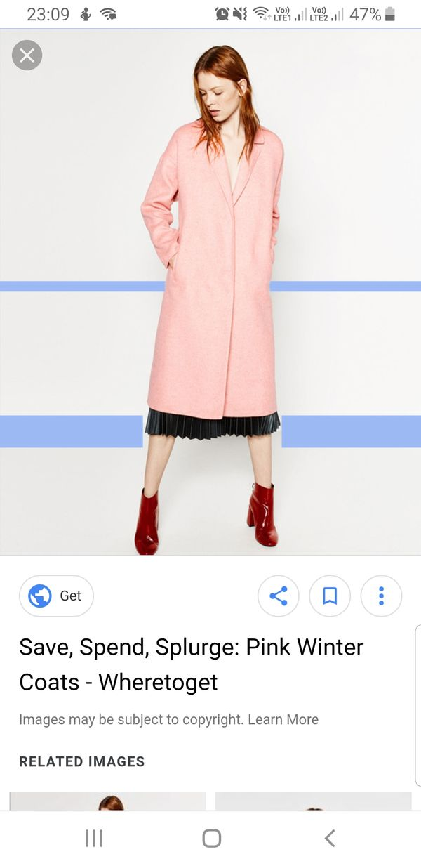 Zara Long Fuzzy Pink Coat
