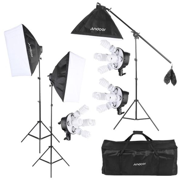 Andoer Andoer 3x 180W Softbox Flourescent Light