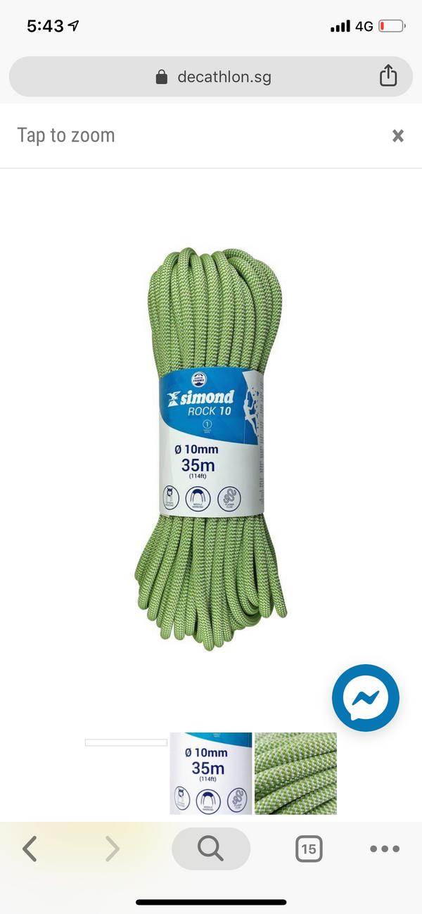 Simond 35m climbing rope