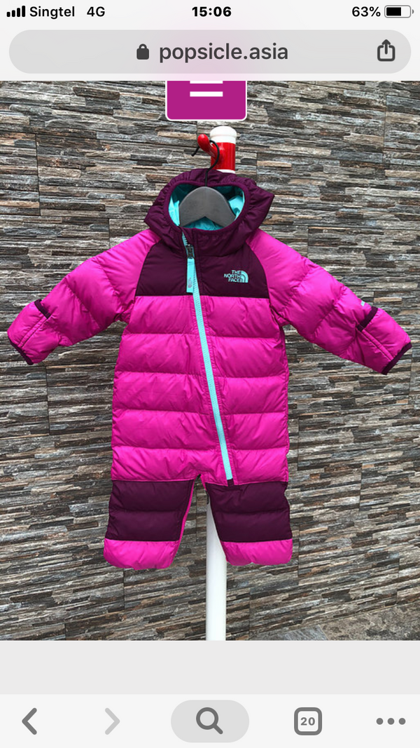 The North Face Down Snowsuit for girls, 3-6m; 6-9m; 9-12m.