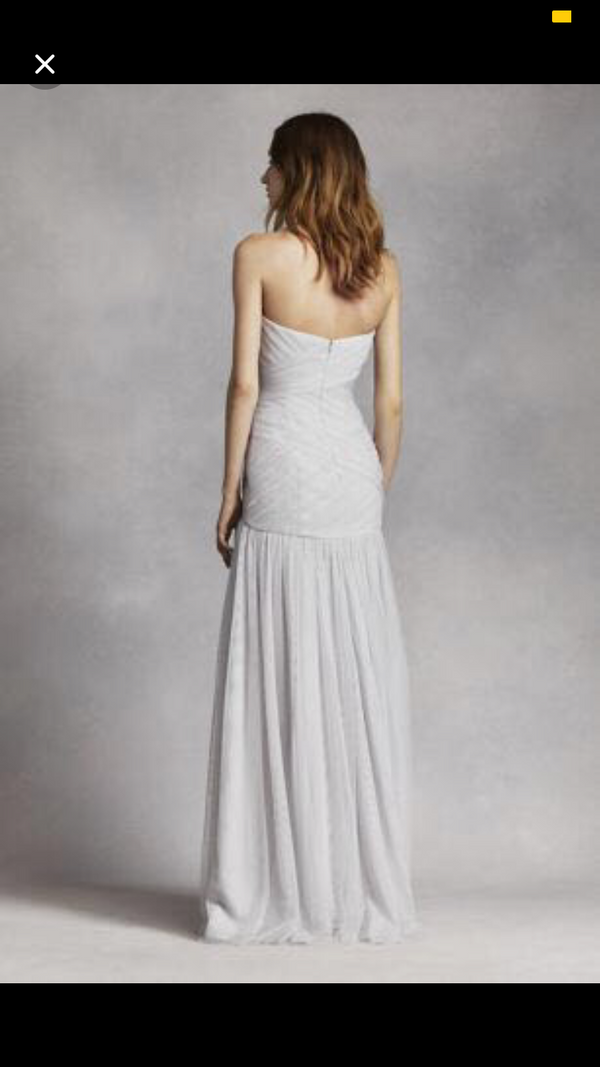 David's Bridal Strapless Bobbin Net Gown with Sweetheart Neckline Bridesmaid Dress