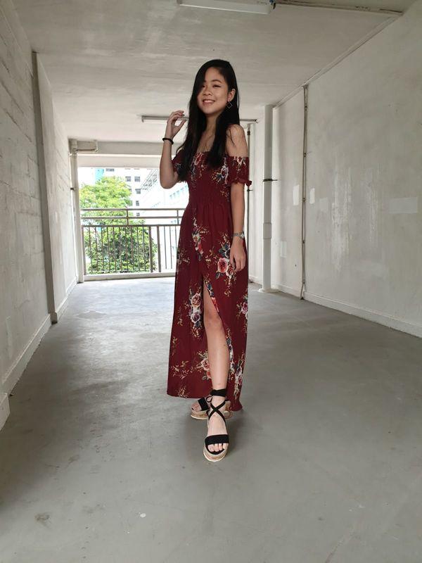 Maroon Off Shoulder Dress