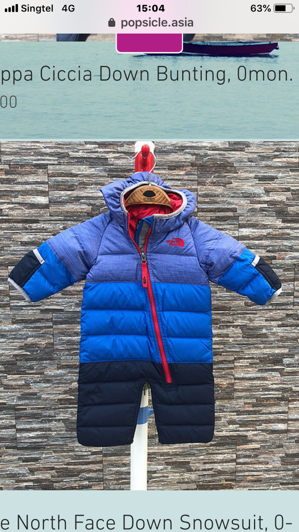 The North Face Down Snowsuit, 3-6m; 6-9m; 9-12m.