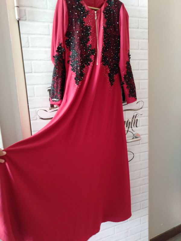 Red Embroidered A line Dress